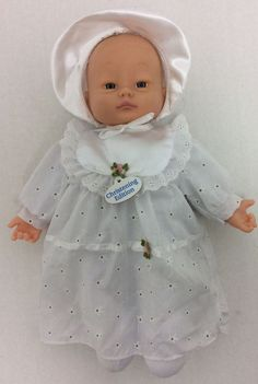 "#Goldberger #Baby #Doll #Christening #Edition White Dress Bonnet 14"" #goldberger #DollswithClothingAccessories"