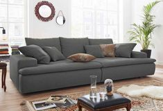 Nova Via Big-Sofa, wahlweise mit RGB-LED, grau, Struktur fein Big Couch, Big Sofas, Couches, Xxl Sofa, Nova, Living Room, House, Furniture, Sofa Grau
