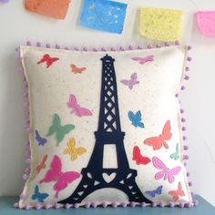 Paris butterflies handmade pillow by Cheeky Monkey Home