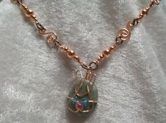 Blue-Eyed Easter Bunny Rabbit Handcrafted Copper Wire Wrapped Necklace #Handmade #Pendant $18.50 rabbit, bunny, handmade copper chain, blue eyed, pink nose, cool cat bunny