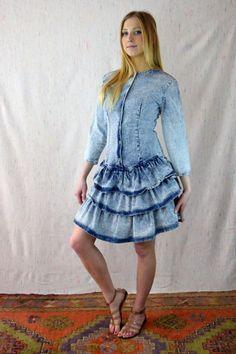 Vtg 90s Grunge Acid Wash Denim Tiered Ruffled Drop Waist Jean Jacket Dress XS | eBay