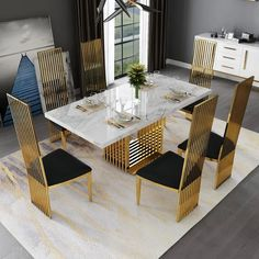 Latest Dining Table Designs, Dinning Table Design, Marble Top Dining Table, Luxury Dining Tables, Luxury Dining Room, Modern Dining Table, Elegant Dining Room, Upholstered Dining Chairs, Dining Chair Set
