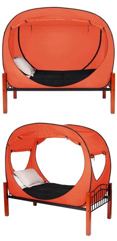 Privacy Pop Tent Orange // Brilliant idea for room-sharers, summer-campers, and dorm-dwellers! #productdesign #industrialdesign