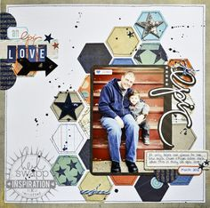 awesome masculine layout. great use of hexagon and pattern