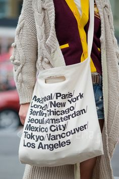 Bull Denim Woven Cotton Cities Bag with Strap American Apparel, My Style Bags, Diy Tote Bag, Tokyo Street Style, Printed Bags, Cloth Bags, Cotton Tote Bags, Canvas Tote Bags, Bag Accessories