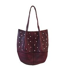 Leather Bag with Metal Studs by LadyBagsSF on Opensky