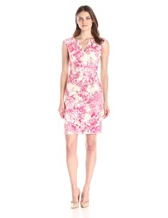 Adrianna Papell Women's Side Wrap Pleated Floral Print Dress, Pink/Multi, 14