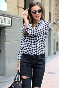 casual outfit with black and white gingham and ripped denim