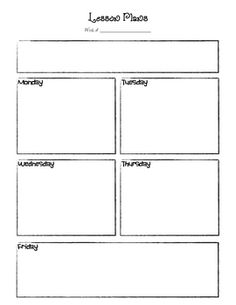 This Is A Basic Lesson Plan Template For Preschool Or One Subject Area