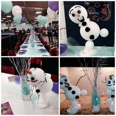 Frozen birthday party ideas! DIY Olaf and center pieces! Every single kid and parent loved them!