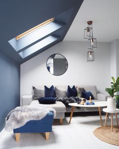 @carlberg_home beautiful pitched roof painted blue, perfectly framed the skylights