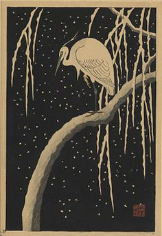 """Egret on a Snow-covered Willow Tree at Night"" by Shoson"
