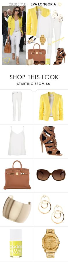 La Yellow Touch Veste Jaune Top et pantalon blanc comme Eva Longoria