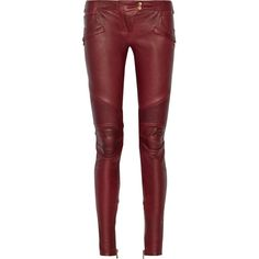 dc06ef64 Balmain Moto-style leather skinny pants ($3,595) ❤ liked on Polyvore  featuring pants