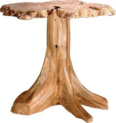 Amish Rustic Burl Accent Table with Stump Base