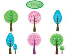 Retro Tree Clipart Clip Art Vintage Trees Clip Art by PinkPueblo