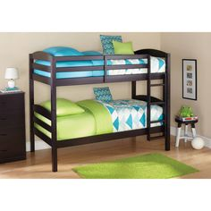 Mainstays Twin Over Twin Wood Bunk Bed Guard Rails 4 Step Ladder #Mainstays