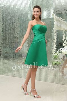 A-line Party Dresses Strapless Short/Mini Taffeta Dark Green 050010100155