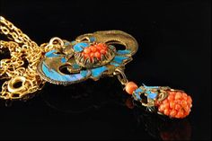 Antique Chinese Corals Kingfisher Feather by SummitTreasures
