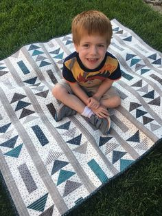 """I am excited to show you this quilt. It is my """"Flight Path"""" quilt. I designed it with the idea of being a quick and easy quilt to make for anyone. And then, I came across the perfect fabric collection by Riley Blake to go with it. It is called """" Quilt Baby, Baby Boy Quilt Patterns, Lap Quilts, Scrappy Quilts, Quilt Block Patterns, Quilt Blocks, Owl Patterns, Baby Quilts For Boys, Modern Baby Quilts"""