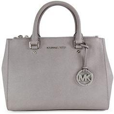 Michael Kors Sutton Satchel - Pearl Grey (7.020 UYU) ❤ liked on Polyvore featuring bags, handbags, purses, michael kors, mk, gray handbags, michael kors satchel, purse satchel, man satchel bag and gray purse