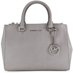 Michael Kors Sutton Satchel - Pearl Grey ($246) ❤ liked on Polyvore featuring bags, handbags, purses, michael kors, torbe, michael kors bags, pearl purse, satchel purse, gray handbags and grey purse