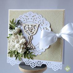 Set of First Communion cards - beige and green
