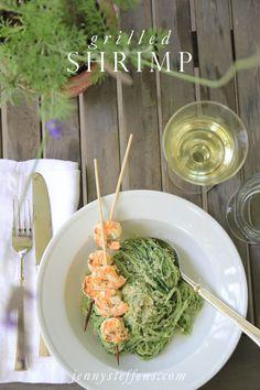 Jenny Steffens Hobick: Lemon Basil Grilled Shrimp with Pesto Pasta