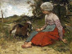 Jacob Hendricus Maris (Dutch painter) 1837 - 1899  The Pet Goat, 1871