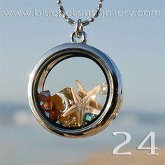 Real Starfish and Swarovski Crystals Seaside Memory lockets