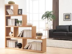 Etagère escalier 6 cases KAPPI - MDF placage bois finition chêne