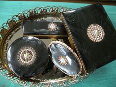 Vintage Schildkraut , 5 pc set, Compact, Lipstick holder, comb holder , Cigarette Case , Black Marbled Bakelite case by Traincasesandmore on Etsy