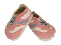 Pink sports sneaker fits 18 inch dolls like American Girl doll clothes.  Perfectly adorable and a must for summer.  Ideal add-on to any of our doll clothes outfits.