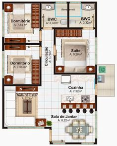 Small house plan with 3 bedrooms # minimalist Modern House Plans, Small House Plans, House Floor Plans, Modern Floor Plans, Home Design Plans, Plan Design, Design Ideas, Apartment Plans, Apartment Kitchen