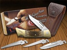 CASE XX Jigged Amber Bone XX-Changer Stainless Utility Pocket Knives Knife