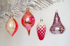 Christmas glass ornaments Pink Purple Set of 4 tree decoration Cone, Bell, Globs Vintage Christmas decor by Retronom on Etsy