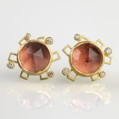 Mark Nuell - 18ct #gold, #rose-cut #tourmalines, #diamonds. #Earrings #ValentinesDay #Jewellery http://directory.thegoldsmiths.co.uk/seasonal/valentines-day#modal2