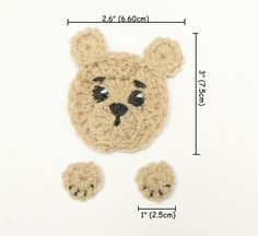 Hand made crochet sewn on applique- brown TEDDY BEAR. It consist of head and 2 paws. You can use it to embellish kids hats, scarves, jackets, baby blankets, bags or whatever you want:) You can choose quantity of appliques using drop down menu. Crochet Bear Hat, Crochet Teddy, Crochet Baby Shoes, Cute Crochet, Crochet Motif, Baby Blanket Crochet, Crochet Dolls, Crochet Patterns, Baby Scarf