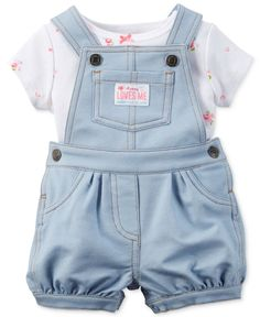 Carter's Baby Girls' 2-Piece Short-Sleeve T-Shirt & Shortall Set