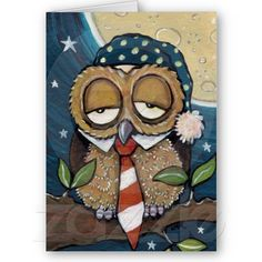 'Winston, Sleepy Business Owl' by Lisa Marie Robinson