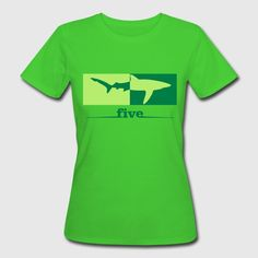 High five (Hai) - Frauen Bio-T-Shirt Die zwei Farben des Motivs oder des Shirts lassen sich im Shirtdesigner ändern. greenery-green
