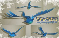 Pokemon Articuno paper model from the PaperPokes. Easy Pokemon, Ice Pokemon, Pokemon Craft, Pokemon Party, Origami Paper, Diy Paper, Paper Crafts, Paper Pokes, Holiday Crafts For Kids