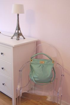 Three of my favorite things - my DIY Eiffel Tower lamp, my beloved Ghost Chair and this adorable  mint MbMJ bag - Find more pictures on fashiongefluester.com