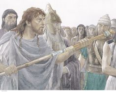 """ODYSSEUS Silences Thersites as Agamemnon & Nestor Watch. 'Odysseus stepped in quickly, faced him down with a dark glance and threats to break his nerve: """"What a flood of abuse, Thersites!...Keep quiet. Who are you to wrangle with kings...' - Homer's Iliad, Book 2 (Alan Lee/Robert Fagles/user: Aethon)"""