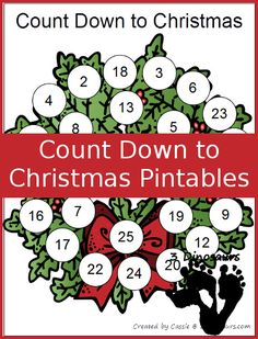 FREE Single Page Count Down to Christmas Printables: Christmas Tree, Santa, Wreath & Coloring page -  3Dinosaurs.com