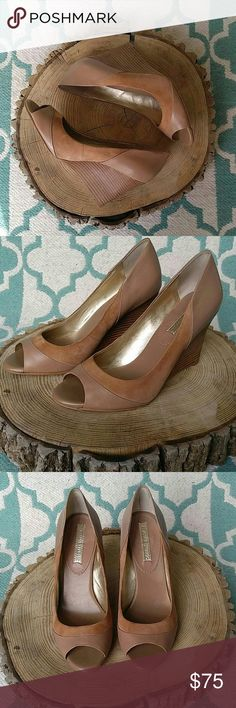 "Banana Republic Suede and Leather Wedges 100% leather ande suede, camel colored wedges! Gently used and in near perfect condition! Heel measures 3-1/2"" Thanks for looking! Banana Republic Shoes Wedges"