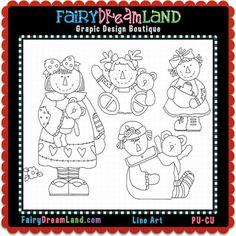 PU - CU line art perfect for scrapbooking, card making, web design and much more! Kid Character, Digital Stamps, Line Art, Card Making, Web Design, Fairy, Dream Land, Scrapbook, Comics
