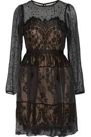 Notte by MarchesaSilk-blend chiffon fil coupé and lace dress