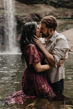 Intimate Waterfall Adventure Engagement Session in Altamont, TN Emily Blake Wandering Weddings Water Engagement Photos, Engagement Photo Poses, Engagement Photo Inspiration, Engagement Couple, Engagement Photography, Country Engagement, Fall Engagement, Engagement Shoots, Rustic Engagement Photos