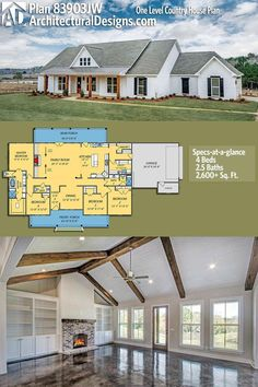 Architectural Designs House Plan gives you one-level modern farmhouse living with 4 beds, baths and over sq. of heated living space. Design one floor Plan One Level Country House Plan Barn House Plans, New House Plans, Dream House Plans, One Level House Plans, Dream Houses, Four Bedroom House Plans, House Plans One Story, Bungalow House Plans, Family House Plans